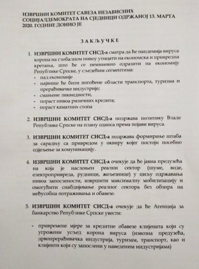 Zaključci Izvršnog komiteta SNSD-a